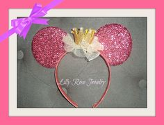 Princess Sparkly Pink Minnie Mouse Ears by LillyRoseJewelry
