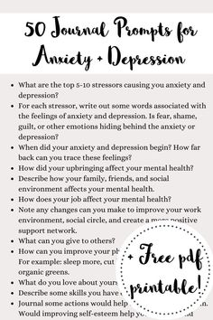 Amazing Amazing Journal prompts for anxiety and depression plus free PDF printable journal prompts t Depression Journal, Depression And Anxiety Quotes, Depression Recovery, Bullet Journal Mental Health, Journaling For Mental Health, Natural Sleep Remedies, Natural Cures, Cold Remedies, Natural Health