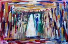 This was, one of the most challenging paintings I have ever ventured out to paint. Not due to the physical painting part, but due of the mental part. My brain so badly wanted to turn this abstract into detail. But I fought it every minute of painting, being brave and exploring outward. I love how there is more red on the bride's side and more blue by the groom, bringing together the masculine and feminine energy together, thus creating magic! Abstract chuppah painting,