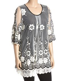 White & Black Floral Cutout Tunic - Plus