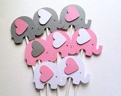 Elephant Cupcake Toppers en blanco rosa y gris. Ducha de bebé, primero cumpleaños, favores de partido, trata. Niña, género revelan. Pico de la Magdalena.