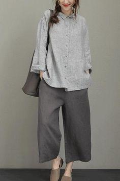 Vintage Striped Linen Shirt Women Loose Blouse - T-shirt-[Fantasylinen] Mode Outfits, Dress Outfits, Casual Dresses, Casual Outfits, Fashion Outfits, Loose Dresses, Blouse Ample, Vintage Outfits, Fashion Vintage