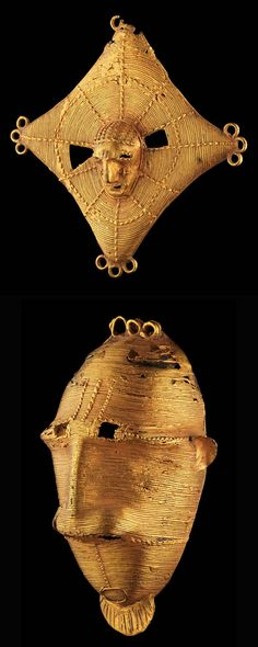 Africa | Pendants from the Akan people of the Ivory Coast || Top) H. 8,5 cm.  6k gold. Est. 4,00 - 6,000CHF.  Bottom) H. 11cms.  7k gold.  Est. 4,000 - 6,000CHF