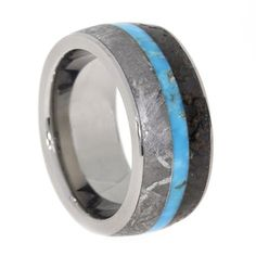 Gibeon Meteorite and Dinosaur Bone Ring with Turquoise Center, set in Titanium Ring