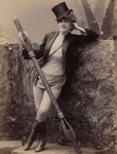 A photograph of a burlesque performer from the 1890s. Burlesque shows became incredibly popular during the 19th century as they displayed the female figure to a male audience used to seeing women whose forms were hidden by clothing such as crinolines. The modern form of burlesque was brought to America in the 1860s by Lydia Thompson with her group 'The British Blondes'.