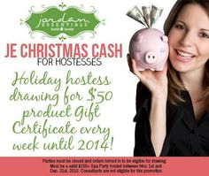 The JE Christmas Cash for hostesses is ON!    You CAN be part of the fun too! Contact us today to reserve your party date! www.myjestore.com/paulalister