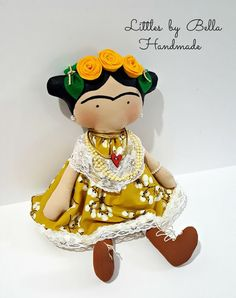 Frida Kahlo doll Tilda toy children Frida Kahlo decor doll to Crafts For Kids, Arts And Crafts, Diy Crafts, Doll Patterns, Sewing Patterns, Tilda Toy, Hand Puppets, Sewing Toys, Baby Store