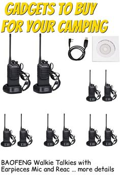 (This is an affiliate pin) BAOFENG Walkie Talkies with Earpieces Mic and Reachargeble BF-888SA (10 Packs) for Adults Trolling Camping Hiking Hunting Travelling 2 Way Radios