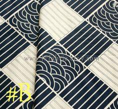 Japanese Wave fabric. Plaid fabric. Pure Cotton. Blue by JPfabric