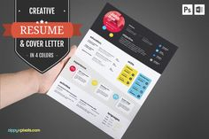 Creative CV Template & Cover Letter by ZippyPixels on @creativemarket