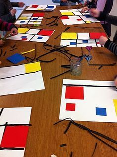 Mondrian inspired us to study artists type of art, colors, lines and design. Paint, tape, collage and glue were used! Piet Mondrian, Mondrian Kunst, Art Lessons For Kids, Artists For Kids, Art Lessons Elementary, Art For Kids, Kindergarten Art, Preschool Art, Preschool Projects