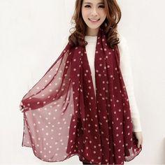 Grid Polka Dot Pattern Long Chiffon Soft Silky Wrap Shawl Scarves 3 Colors