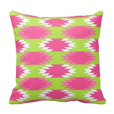 Aztec Andes Tribal Hot Pink Lime Green Pattern Throw Pillows SOLD on Zazzle