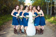 Blue Bridesmaid Dresses with Cowgirl Boots - PHOTO SOURCE • JUST FOR YOU PHOTOGRAPHY