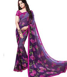 Buy Purple printed polyester saree with blouse printed-saree online