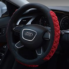 Diamond Lattice Embossed Stitching PU Leather Car Steering Wheel Covers Soft Padding Anti-slip Universal 15 Inches Excellent Grip (Black) -- Awesome products selected by Anna Churchill