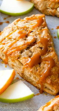 EASY warm apple scones filled with cinnamon, sweet apples, and topped with caramel. I love the crumbly edges and tops!