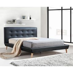 Button Tufted Double PU Leather Bed Frame in Black | Buy New Arrivals