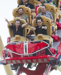 The guys from Relient K on a roller coaster!! :D They have better roller coaster faces than I do! :O