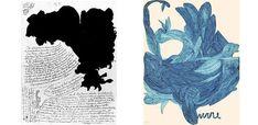 Laure Pigeon hizo sus primeros dibujos, que se escondió de la vista y al que atribuye un carácter de médium, a partir de 1935. Laure Pigeon dibujó figuras abstractas dentro de un sistema de redes, tenues complejas, con tinta azul o negro.