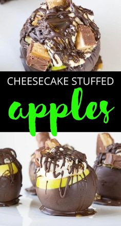 Cheesecake stuffed apples are a must make. A fruit dessert recipe that will win over anyone with one bite. I loved these dipped apples because they were a fun and different recipe. Serve as a summer dessert or a fall dessert. It works for either season! #dessert #apple #stuffed #cheesecake #nobake #dipped #chocolate #candy #Halloween #falldessert Dessert Cake Recipes, Fruit Dessert, Healthy Dessert Recipes, Candy Recipes, Delicious Desserts, Yummy Food, Chocolate Almond Bark, Chocolate Shavings, Gourmet Candy Apples