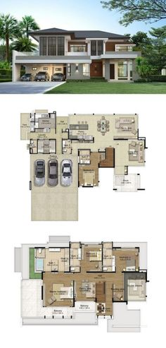 Land and houses modern house plans, big modern houses, house layout plans, modern Big Modern Houses, Big Houses, Modern House Design, Dream Houses, Modern House Floor Plans, Dream House Plans, House Layout Plans, House Layouts, Villa Plan