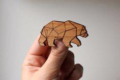 Geometric Wood Bear Brooch by ElectricElmWearables on Etsy, $20.00