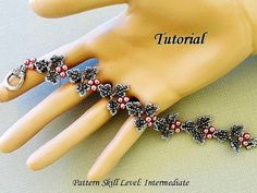 Beading pattern instructions - beadweaving tutorial beaded seed bead jewelry - IVY beadwoven bracelet