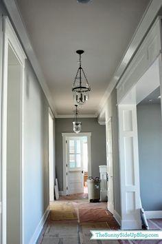 Half light door. White Trim. Crown molding.