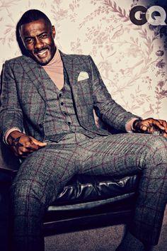 Love him!!!  Idris Elba in tweed plaid suit