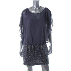 From my moms's store! Manufacturer: Xscape Size: 4 Manufacturer Color: Gray Retail: $179.00 Style Type: Clubwear Dress Silhouette: Blouson Sleeve Length: Butterfly Sleeves Closure: Hidden Side Zipper Dress Length: Above Knee, Mini Total Length: 32 Inches Material: 100% Polyester Fabric Type: Chiffon Specia...
