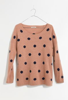 Madewell dotted crewneck sweater.