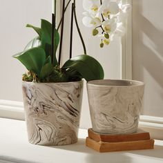 S/2 Marbleized Cylinders Porcelain © Two's Company