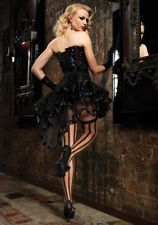 BLACK BURLESQUE PINUP HI HIGH LOW PETTICOAT SKIRT WITH RIBBON TRIM - ONE SIZE