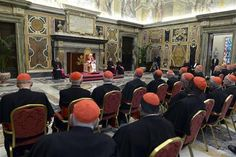 Pope Benedict XVI addresses during the last meeting with the Cardinals at the Vatican, February 28, 2013. REUTERS-Osservatore Romano