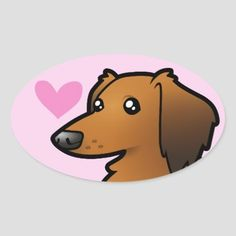 Shop Dachshund Love (longhair) Oval Sticker created by CartoonizeMyPet. Dachshund Quotes, Mini Dachshund, 4th Of July Party, Different Shapes, Custom Stickers, Activities For Kids, Vibrant, Diy Projects, Puppies