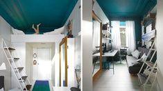 Chambre mezzanine plafond bleu