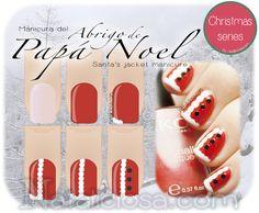 How cute!!!  Santa coat Christmas nail art