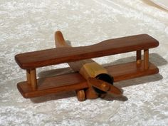 Wooden Biplane Airplane Toy Or Mobile In Cherry