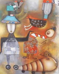 Artist : Claudia Nery / Title : Monigotes / Dimensions : 50 x 40 cms / Technique : Oil Paint on Paper / Price : MXN $8,700 / Status : Available / Year : 2016