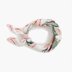 This Italian silk scarf in a vintage-inspired floral print is our new favorite way to accessorize. Not sure how to wear it? See our guide. 19L x 19W. Italian silk. Made in Italy. Select stores.