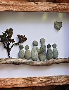 Personalized Family Gift - Unique Gift for Family of Four- Custom Stone Art Work - Original Home Decor - Original Pencil Drawing Pebble Art by MedhaRode on EtsyA painted background and rocks and what a beautiful painting this makes.Rock and Pebble Art, da Stone Crafts, Rock Crafts, Diy Crafts, Arts And Crafts, Pebble Pictures, Rock And Pebbles, Sea Glass Art, Beach Crafts, Driftwood Art
