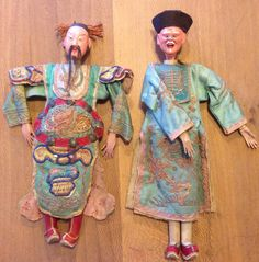 Chinese China opera doll dolls pair antique by FoundbyFloor