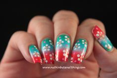 nuthin' but a nail thing: Bright flower nail art