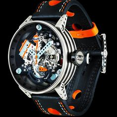 Another in the seemingly endless series of cool BRM watches, this is the BRM Gulf Automatic. Amazing Watches, Beautiful Watches, Cool Watches, Watches For Men, Brm Watches, Sport Watches, Style Masculin, Skeleton Watches, Patek Philippe
