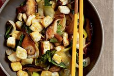 Stir-Fried Shiitake Mushrooms with Tofu and Bok Choy | Vegetarian Times