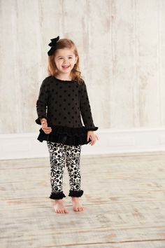 Mud Pie Clothing- Mud Pie Ruffle Top and Damask Leggings - Find|Buy|Shop|Compare|LollipopMoon.com only $36.95 - *Fall / Winter SALE*