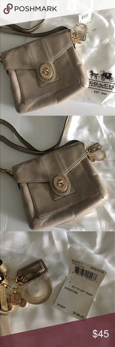 Authentic Coach cross body bag Lovely bag for Spring/Summer. In a beautiful light gold color that has glistening to it. Used only a few times and in great condition inside. Small light mark on left side top flap (in pictures). Interior has pretty pink lining. There is a pocket under flap & a pocket inside. Great small bag for on-the-go. Comes with original dust bag. Clearing out closet. Make an offer! Comes from a smoke & pet free home. Coach Bags Crossbody Bags