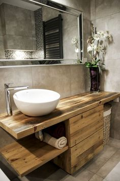 Wash cabinet made of old wood. Ecological, modern and stylish. Wash cabinet made of old wood. Ecological, modern and stylish. Bathroom Storage, Bathroom Interior, Modern Bathroom, Bathroom Vintage, Master Bathroom, Bathroom Cabinets, Bathroom Art, Cream Bathroom, Rustic Bathroom Vanities