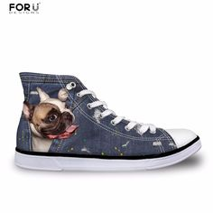 ... Woman Flats Female Lace-up  Affiliate. FORUDESIGNS Female Cute French  Bulldog Frenchie Casual Vulcanize Shoes Women 3D Denim Pocket Animal High  Top c537af313356